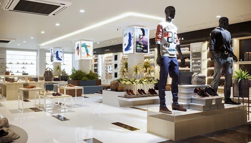 Trang trí nội thất cửa hàng thời trang nam mạnh mẽ, bố cục hài hòa