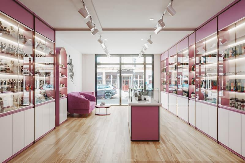 Cửa hàng mỹ phẩm rộng thoáng được bố trí nội thất tự do